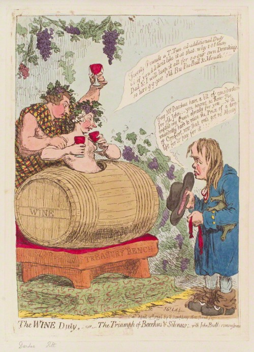 NPG D12567; 'The wine duty; - or - the triumph of Bacchus & Silenus; with John Bulls remonstrance' by James Gillray, published by  Hannah Humphrey