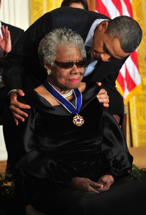 President Barack Obama awards the 2010 Medal of Freedom to poet Maya Angelou in Washington