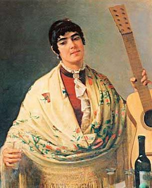 Puebla Tolin, Dioscoro Teofilo (1831-1901) - La Guitarrista, 1884