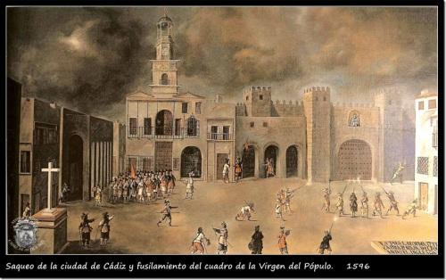 Cádiz. Saqueo de la ciudad. 1596. Capture of Cadiz
