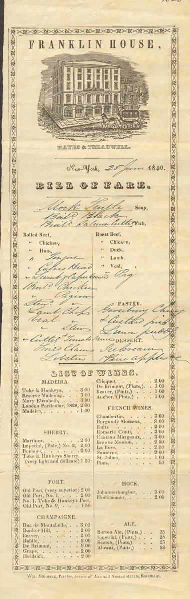 MENUFRANKLINHIUSENEWYORK1840
